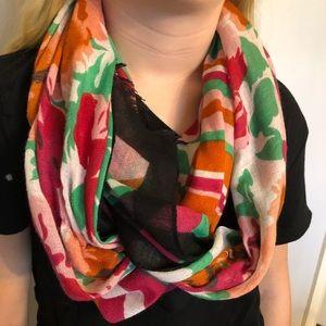 Bright floral & stripe pattern scarf